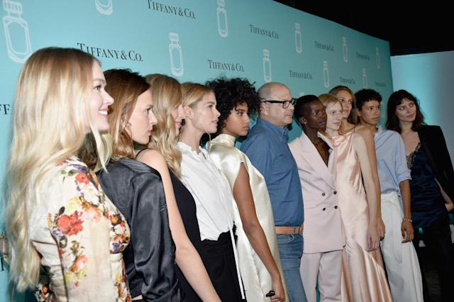 <p>From left, Lindsay Ellingson, Elise Crombez, Vanessa Axente, Doutzen Kroes, Imaan Hammam, Reed Krakoff, Achok Majak, Julia Nobis, Othilia Simon, Dilone, and Kati Nescher at the Tiffany & Co. fragrance launch event in New York City. (Photo by Bryan Bedder/Getty Images for Tiffany & Co.) </p>