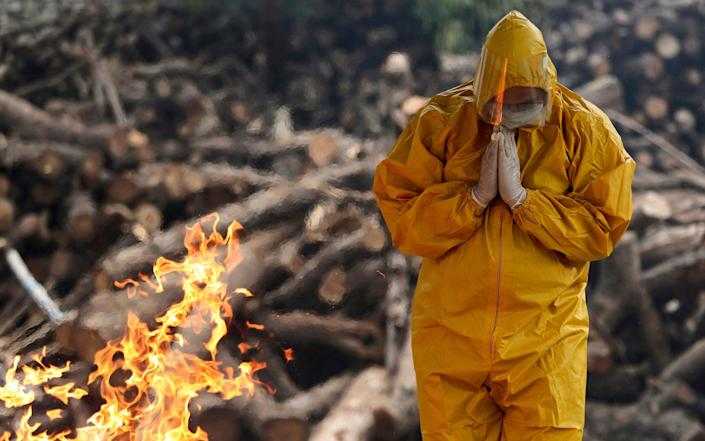 A person prays at a crematorium in Jammu, India, for a family member who died from Covid - Channi Anand/AP