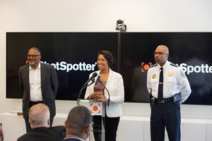 Standing left to right: ShotSpotter President and CEO Ralph A. Clark, District of Columbia, DC Mayor Muriel Bowser, and Metropolitan Police Department chief Robert J. Contee III