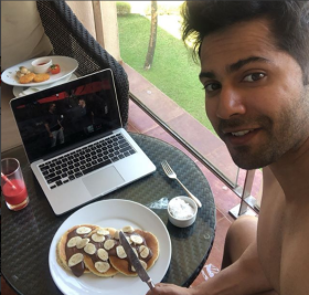 Ek number breakfast: Varun Dhawan gorges on pancakes to celebrate wrap up of 'Coolie No 1'