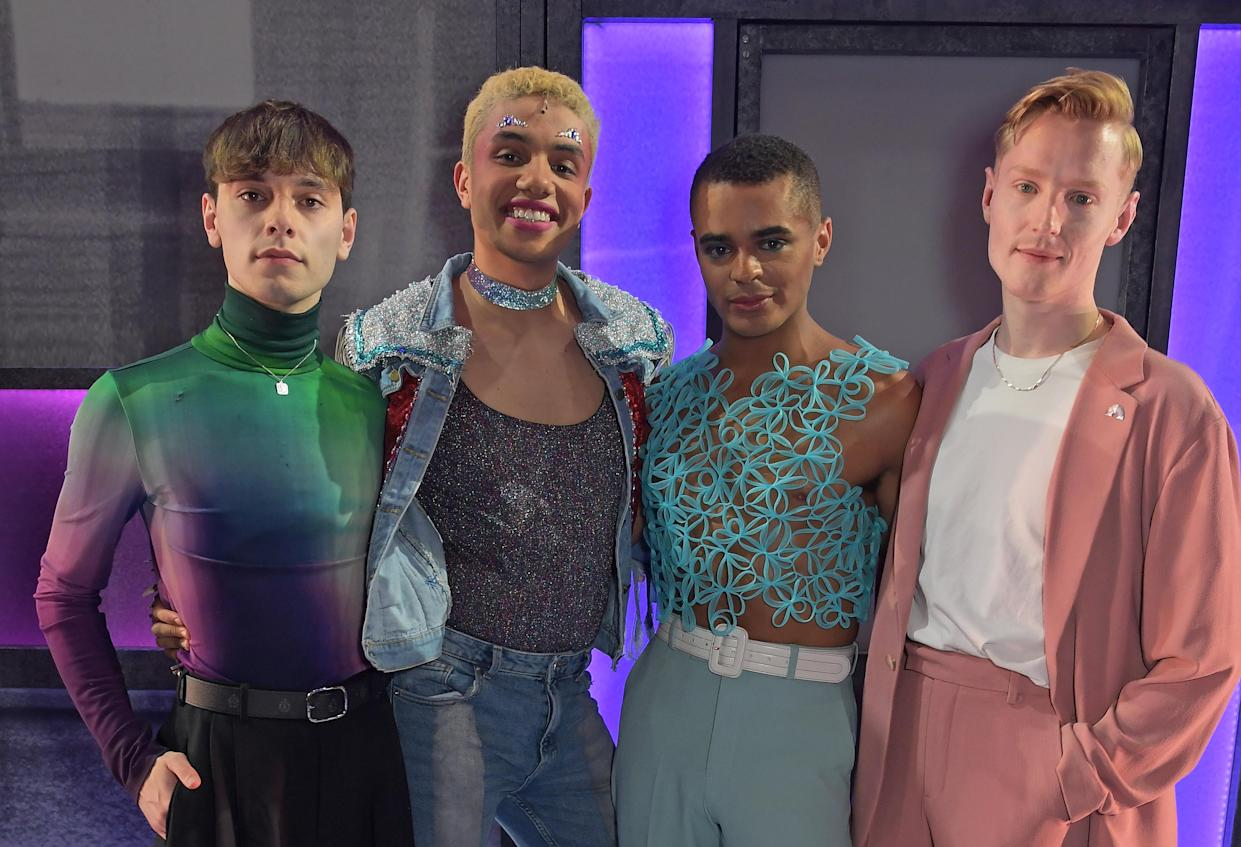 Everybody's Talking About Jamie stars Max Harwood, Noah Thomas, Layton Williams and John McCrea united to mark the musical's 1,000th performance (Dave Benett/Getty Images for NIMAX)