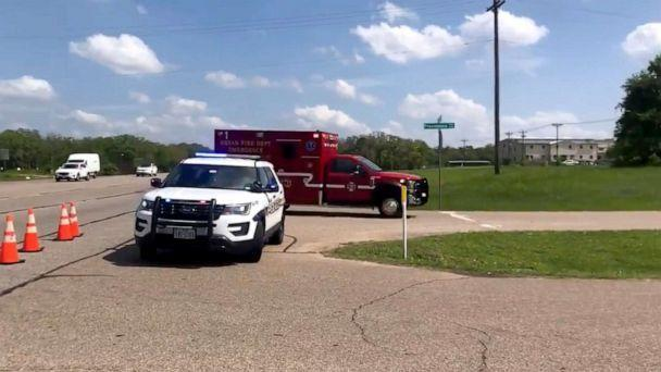 PHOTO: Police investigate the scene of a shooting in Bryan, Texas, April 8, 2021. (Travis L. Brown/The Eagle via Twitter)