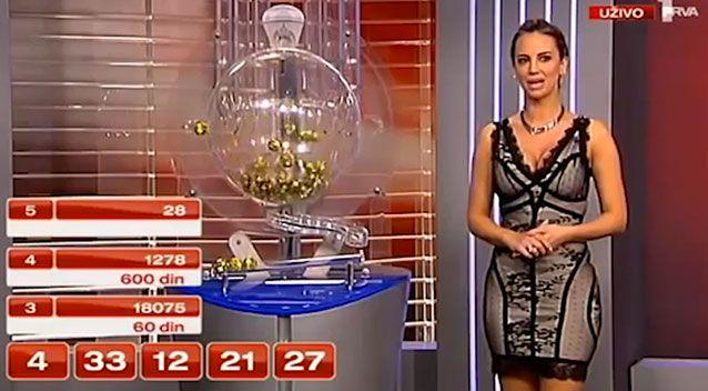 The lottery host looks visibly uncomfortable during the broadcast and appears to slightly stumble on her words. Photo: Supplied