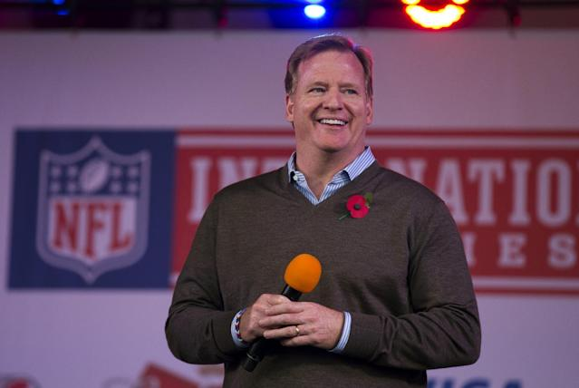 NFL Commissioner Roger Goodell smiles as he is interviewed on stage during an NFL fan rally in Trafalgar Square, London, Saturday, Oct. 26, 2013. The San Francisco 49ers are due to play the the Jacksonville Jaguars at Wembley stadium in London on Sunday, Oct. 27 in a regular season NFL game. (AP Photo/Matt Dunham)