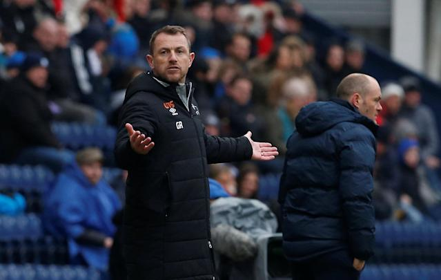 """Soccer Football - Championship - Preston North End vs Derby County - Deepdale, Preston, Britain - April 2, 2018 Derby County Manager Gary Rowett Action Images/Craig Brough EDITORIAL USE ONLY. No use with unauthorized audio, video, data, fixture lists, club/league logos or """"live"""" services. Online in-match use limited to 75 images, no video emulation. No use in betting, games or single club/league/player publications. Please contact your account representative for further details."""