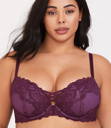PURPLE CORSET LACE PUSH-UP PLUNGE BRA