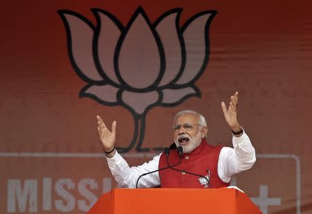 Indian PM Modi addresses an election campaign rally at Kathua