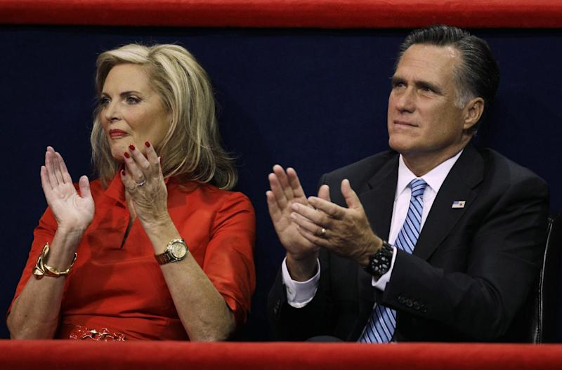 Republican presidential nominee Mitt Romney and his wife Ann applaud during New Jersey Governor Chris Christie's speech at the Republican National Convention in Tampa, Fla., on Tuesday, Aug. 28, 2012. (AP Photo/Charlie Neibergall)