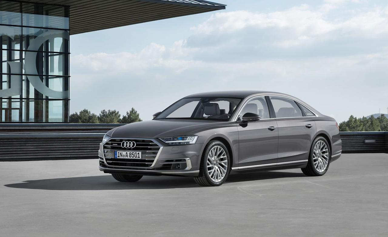 "<p>EPA combined: 22 mpg</p><p>The fully redesigned <a rel=""nofollow"" href=""https://www.caranddriver.com/audi/a8"">2019 A8</a> features Audi's new <a rel=""nofollow"" href=""https://www.caranddriver.com/news/a15341893/2018-audi-a8-to-feature-48-volt-hybrid-system/"">Mild Hybrid Electric Vehicle (MHEV) system</a>, which is exactly what it sounds like: A mild-hybrid setup! It consists of a motor/generator connected to the engine's crankshaft via the accessory drive belt and a 48-volt electrical system. The motor is used to restart the car after the engine shuts down to save fuel at stoplights and in traffic, as well as to deliver some torque to the engine's crankshaft at low speeds.<br></p>"
