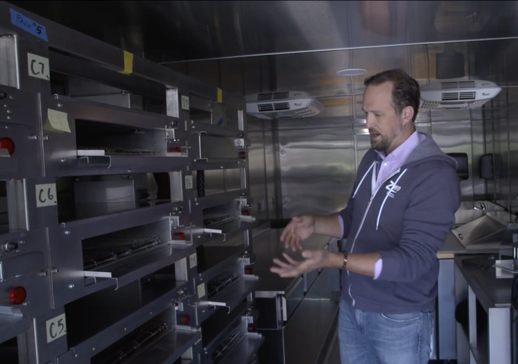 The pizzas cook in their own little ovens–in the truck.