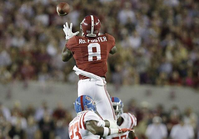 "<a class=""link rapid-noclick-resp"" href=""/ncaaf/players/231380/"" data-ylk=""slk:Robert Foster"">Robert Foster</a> is expected to have a bigger role in Alabama's offense in 2017. (AP)"