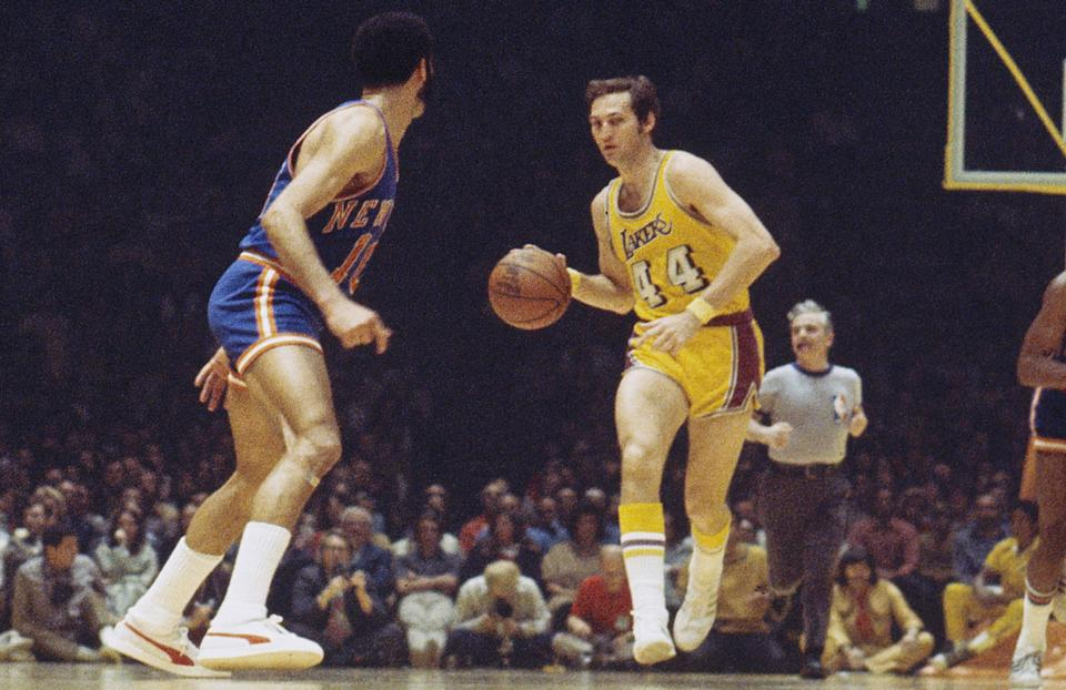 INGLEWOOD, CA - UNDATED: Jerry West #44 of the Los Angeles Lakers dribbles the ball up court during a game against the New York Knicks at the Great Western Forum in Inglewood, California. (Photo by Focus on Sport/Getty Images) *** Local Caption *** Jerry West