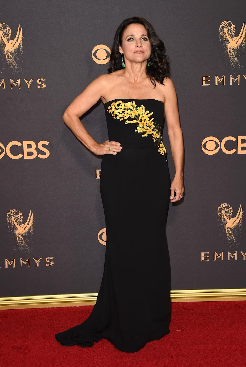 <p>Julia Louis-Dreyfus attends the 69th Annual Primetime Emmy Awards on September 17, 2017.<br> (Photo: Getty Images) </p>
