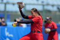 United States' Cat Osterman pitches during the softball game between Italy and the United States at the 2020 Summer Olympics, Wednesday, July 21, 2021, in Fukushima, Japan. (AP Photo/Jae C. Hong)