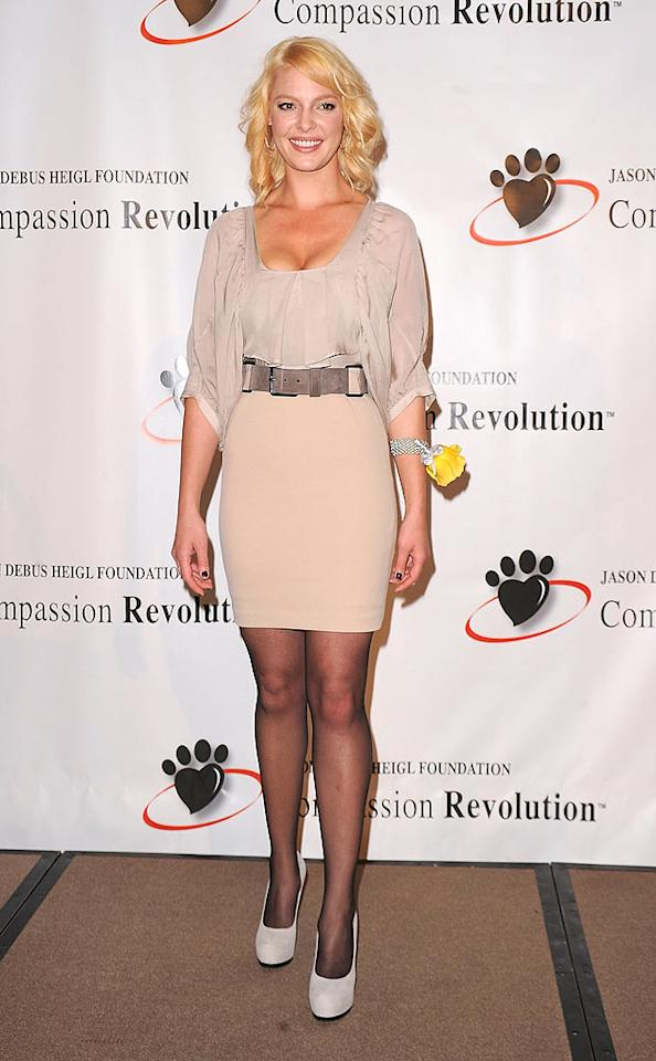 "We applaud Katherine Heigl for recently donating $1 million of her own money to help control L.A.'s pet population, but we must condemn the hideous hosiery she sported at the press conference. Jason Merritt/<a href=""http://www.gettyimages.com/"" target=""new"">GettyImages.com</a> - September 23, 2010"