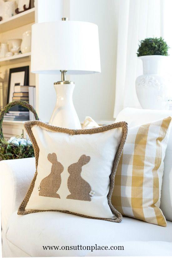 "<p>There's no sewing required for this one thanks to handy template provided in this tutorial. </p><p><strong>Get the tutorial at <a href=""http://www.onsuttonplace.com/2015/03/diy-burlap-easter-bunny-pillow/"" rel=""nofollow noopener"" target=""_blank"" data-ylk=""slk:On Sutton Place"" class=""link rapid-noclick-resp"">On Sutton Place</a>.</strong></p>"