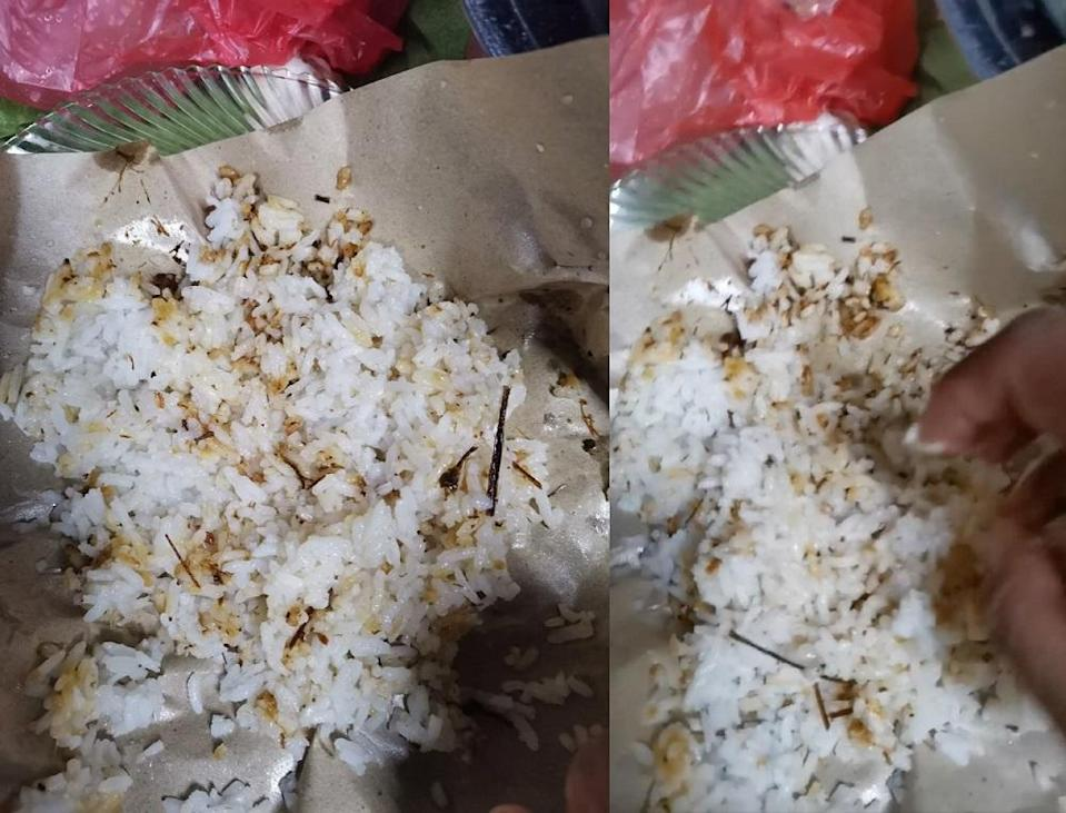 Muhammad added that the stall owner did not offer any side dishes to go with the rice. — Screen capture via Facebook/WargaKotaDamansara