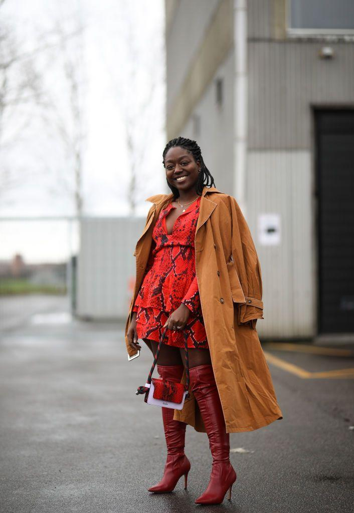 <p>Match them to the rest of your ensemble with a red snakeskin dress and a crossbody bag that also features the same color. A tan coat tossed effortlessly over the shoulders doesn't hurt either. </p>