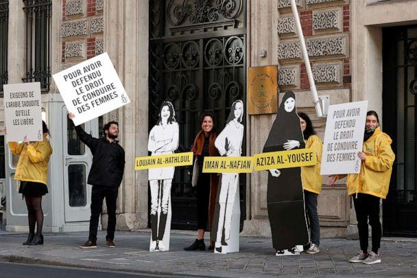 PHOTO: Demonstrators from Amnesty International stage the protest to urge Saudi authorities to release jailed women's rights activists Loujain al-Hathloul, Eman al-Nafjan and Aziza al-Yousef outside the Saudi Arabian Embassy in Paris on March 8, 2019. (Benoit Tessier/Reuters)