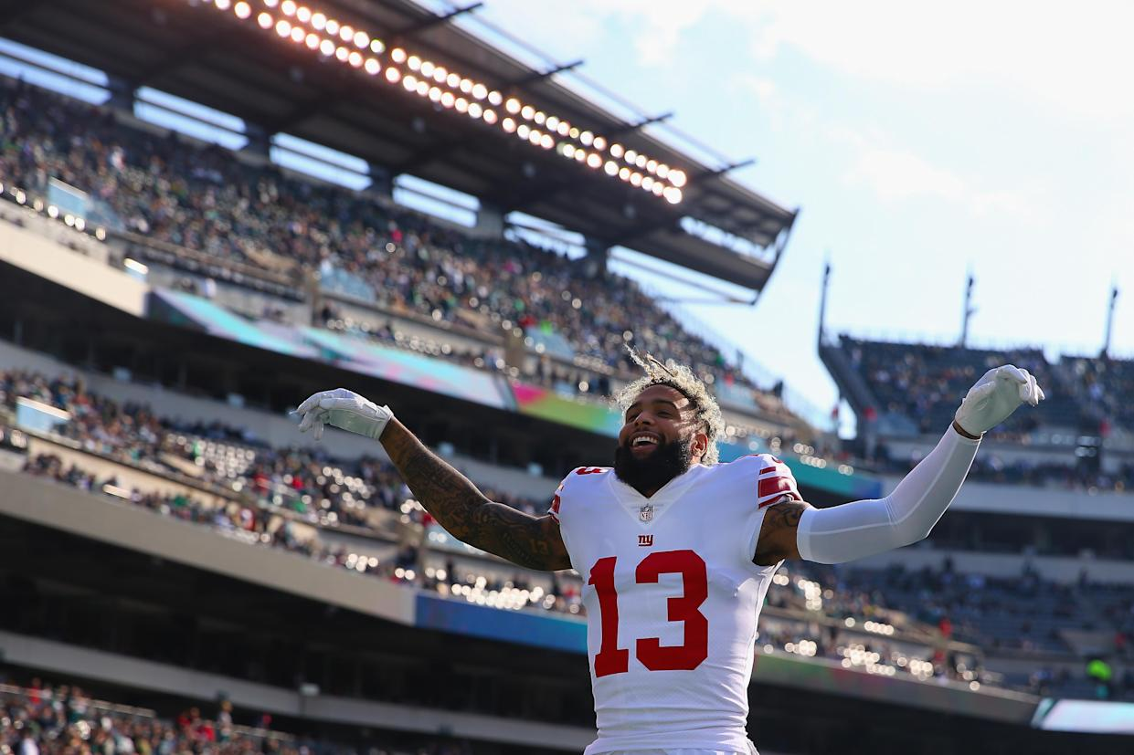 Odell Beckham was all smiles during the pregame against the Eagles, but not so much afterward. (Getty Images)