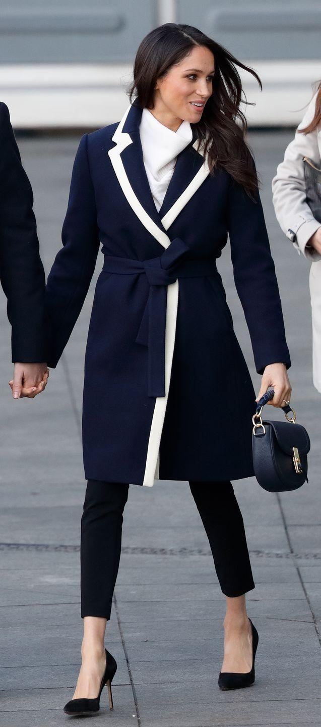 """<p>The queen reportedly prefers skirts and dresses over pants, which is why she (and Kate Middleton) are rarely seen in them. However, Meghan has worn pants <a href=""""https://www.cosmopolitan.com/entertainment/a22146963/gahhh-kate-middleton-and-meghan-markle-went-on-a-sister-sister-date-at-wi"""" rel=""""nofollow noopener"""" target=""""_blank"""" data-ylk=""""slk:numerous times"""" class=""""link rapid-noclick-resp"""">numerous times</a>. </p>"""