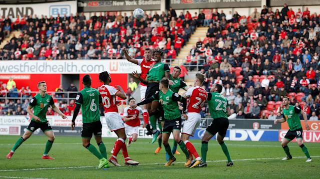 "Soccer Football - League One Play Off Semi Final Second Leg - Rotherham United vs Scunthorpe United - AESSEAL New York Stadium, Rotherham, Britain - May 16, 2018 Rotherham United's Richard Wood scores their first goal Action Images/Ed Sykes EDITORIAL USE ONLY. No use with unauthorized audio, video, data, fixture lists, club/league logos or ""live"" services. Online in-match use limited to 75 images, no video emulation. No use in betting, games or single club/league/player publications. Please contact your account representative for further details."