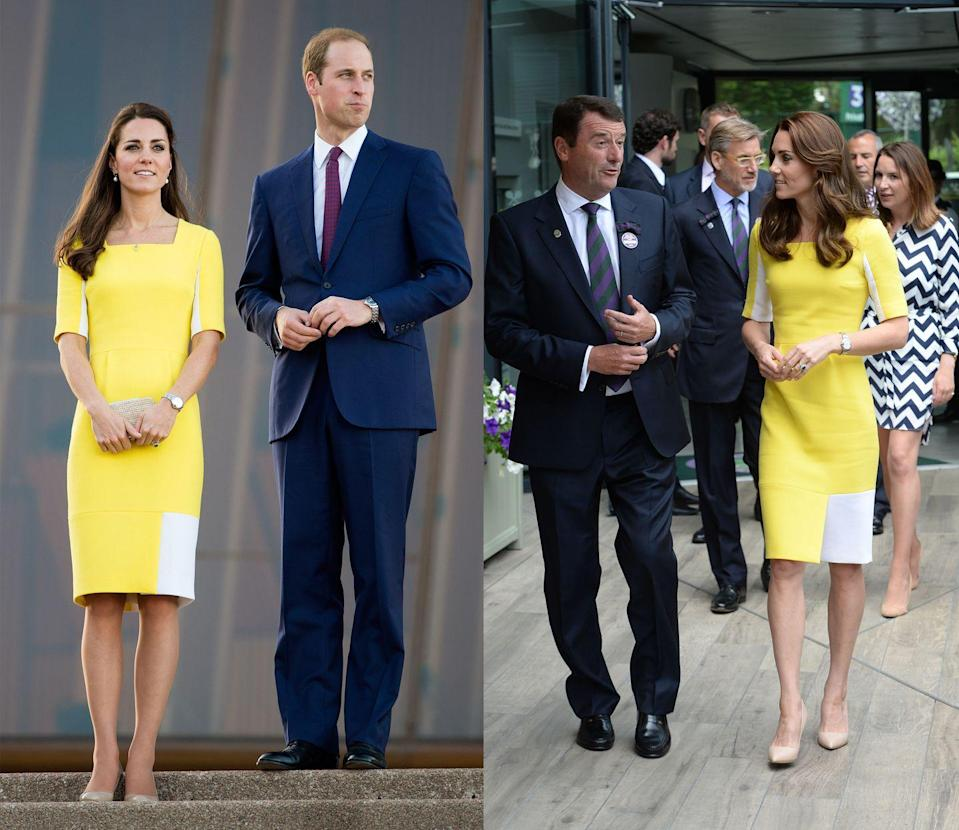 <p>Kate Middleton first wore this sunny yellow Roksanda half-sleeve sheath in April 2014 to visit the Sydney Opera House. She later rewore the look in July 2016 for a day at Wimbledon. </p>