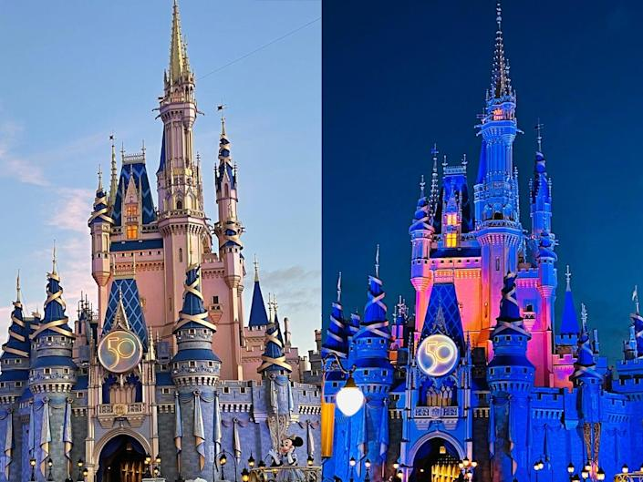 Cinderella Castle with 50th Anniversary Makeover by Day or Night
