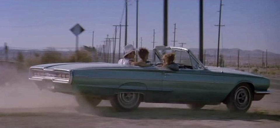 "<p>Like any classic outlaw, these two ladies rode in style in a 1966 Ford T-Bird. The car was chosen simply for its practicality for shooting movies: It's open and easy to shoot the actors, and the backseat allows for Thelma and Louise to travel with other characters. A total of five cars were used in the movie: one ""hero"" car used solely for exterior shots, one camera car, two stunt cars, and one for backup. They didn't receive any customization that is customary for a movie car, remaining the same as they would've been straight off the showroom floor. Since being purchased from Metro MGM Movies in 1991, one car was sold at auction in 2008 and earned $71,500—but that could have been for the Brad Pitt and Geena Davis signatures adorning the armrest and sun visor, respectively.</p><p><a class=""link rapid-noclick-resp"" href=""https://www.amazon.com/gp/video/detail/0JP03170SEML7CJMSVA1IG0CE9/?tag=syn-yahoo-20&ascsubtag=%5Bartid%7C10054.g.27421711%5Bsrc%7Cyahoo-us"" rel=""nofollow noopener"" target=""_blank"" data-ylk=""slk:AMAZON"">AMAZON</a></p>"
