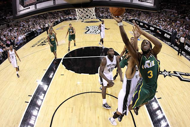 SAN ANTONIO, TX - MAY 02: DeMarre Carroll #3 of the Utah Jazz takes a shot against the San Antonio Spurs in Game Two of the Western Conference Quarterfinals of the 2012 NBA Playoffs at AT&T Center on May 2, 2012 in San Antonio, Texas. NOTE TO USER: User expressly acknowledges and agrees that, by downloading and or using this photograph, User is consenting to the terms and conditions of the Getty Images License Agreement. (Photo by Ronald Martinez/Getty Images)