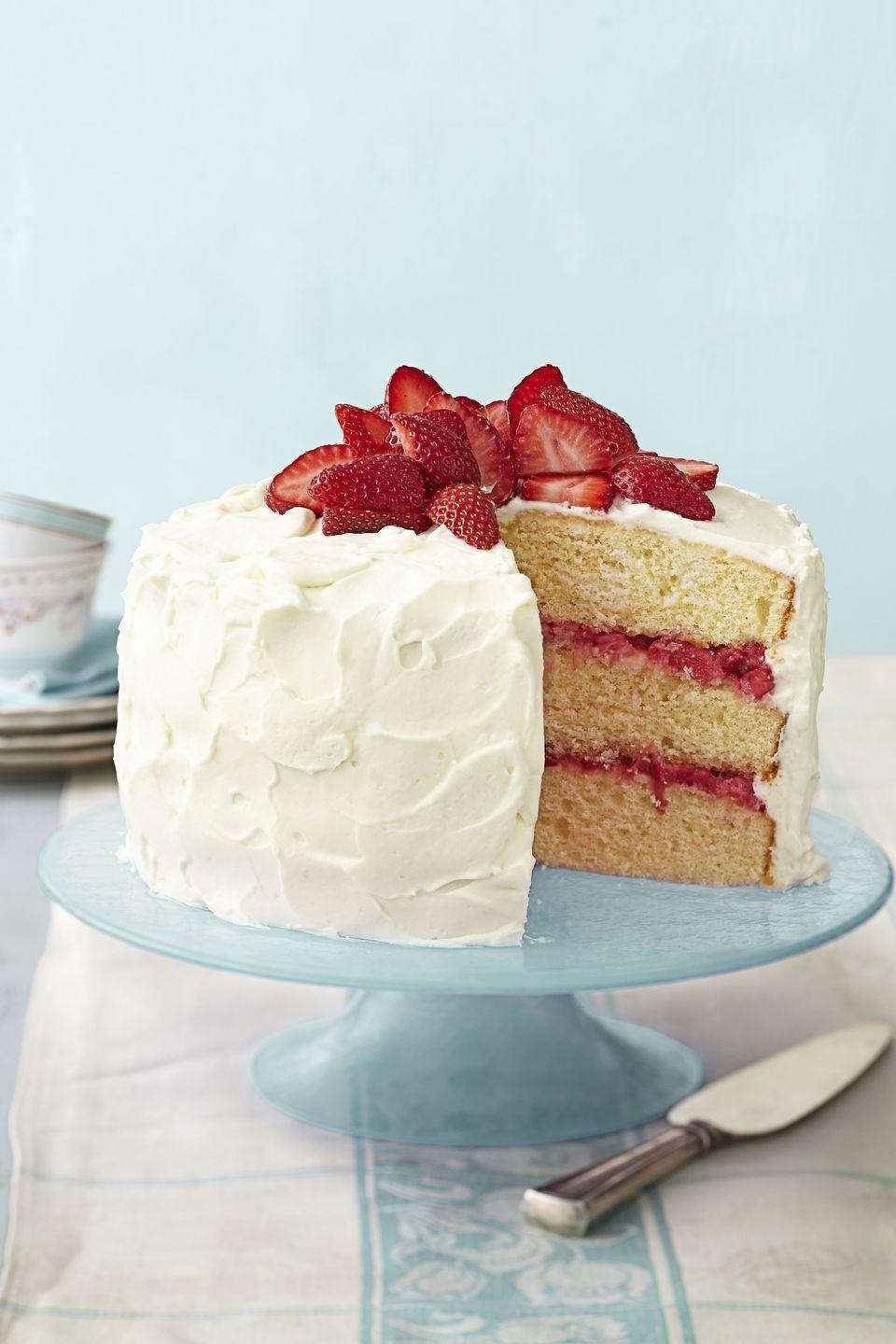 "<p>'Tis the season for strawberry and rhubarb. Skip the pie and pile the fruit on this luscious layered cake.</p><p><em><a href=""https://www.goodhousekeeping.com/food-recipes/a15071/strawberry-rhubarb-layer-cake-recipe-ghk0414/"" rel=""nofollow noopener"" target=""_blank"" data-ylk=""slk:Get the recipe for Strawberry Rhubarb Layer Cake »"" class=""link rapid-noclick-resp"">Get the recipe for Strawberry Rhubarb Layer Cake »</a></em></p>"
