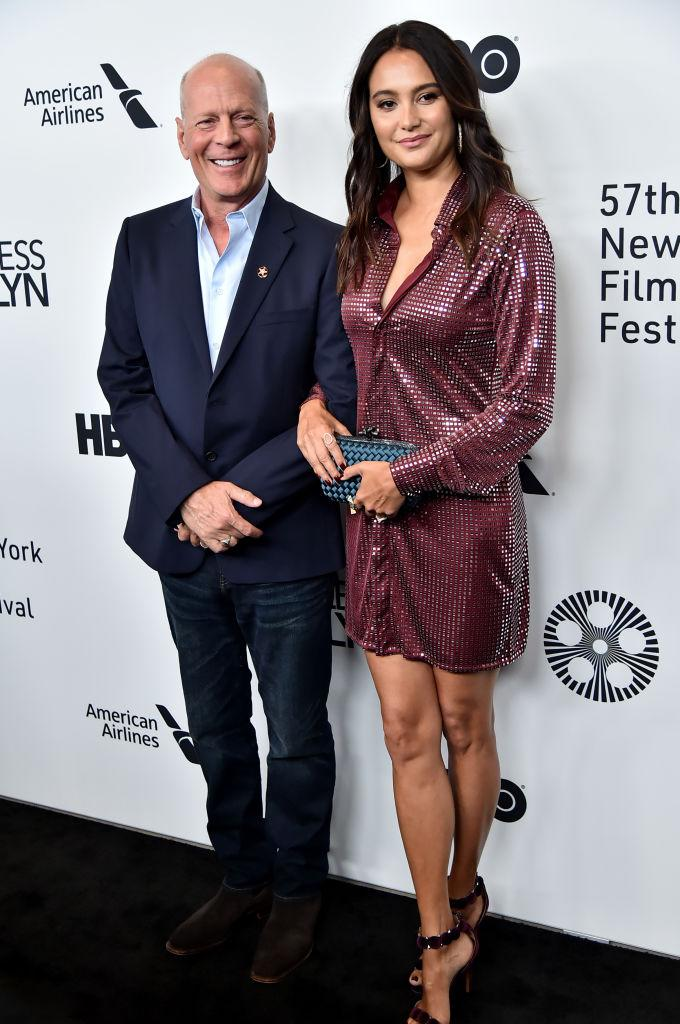 Bruce's wife Emma Heming was unable to join the blended family in quarantine, pictured here at the New York Film festival October 2019. (Getty Images)