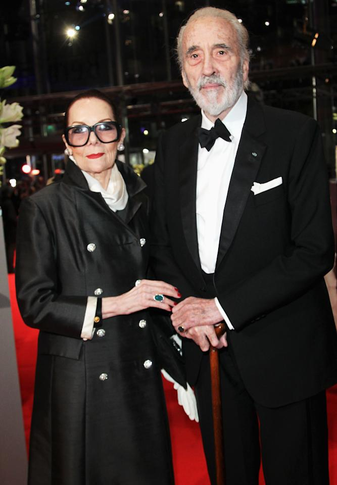 """BERLIN, GERMANY - FEBRUARY 09:  Actor Sir Christopher Lee and his wife Birgit Lee attend the """"Les Adieux De La Reine"""" Premiere during day one of the 62nd Berlin International Film Festival at the Berlinale Palast on February 9, 2012 in Berlin, Germany.  (Photo by Sean Gallup/Getty Images)"""
