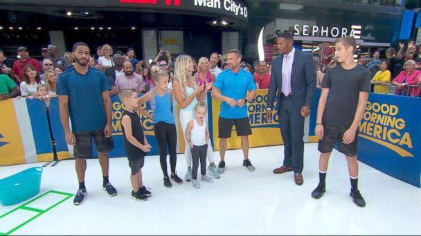 PHOTO: Chris and Heidi Powell share family workout tips on 'Good Morning America.' (ABC)