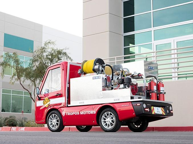 The mini truck is designed for fires that break out in narrow backstreets, like those found in Mumbai or Tokyo: Panasonic