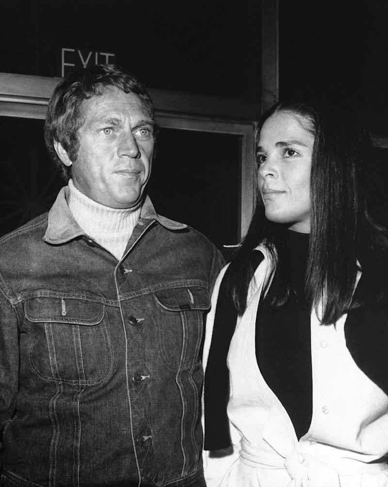 """FILE - In this Dec. 7, 1972 file photo, actor, Steve McQueen, and actress, Ali MacGraw, are shown at a press screening of their movie, """"The Getaway,"""" in Hollywood.  This movie is a crime melodrama directed by Sam Peckinpah. A watch worn by Steve McQueen in """"Le Mans"""" sold for nearly $800,000 at an auction of film memorabilia that ended July 31, 2012.  (AP Photo, File)"""