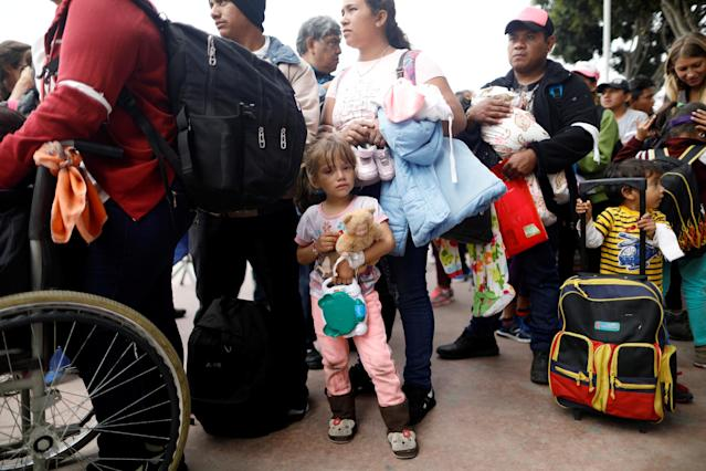 <p>Members of a caravan of migrants from Central America wait to enter the United States border and customs facility, where they are expected to apply for asylum, in Tijuana, Mexico April 29, 2018. (Photo: Edgard Garrido/Reuters) </p>