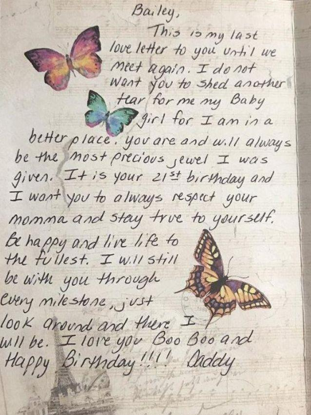 Ms Bailey's father wrote a heartfelt birthday card. Source: Twitter
