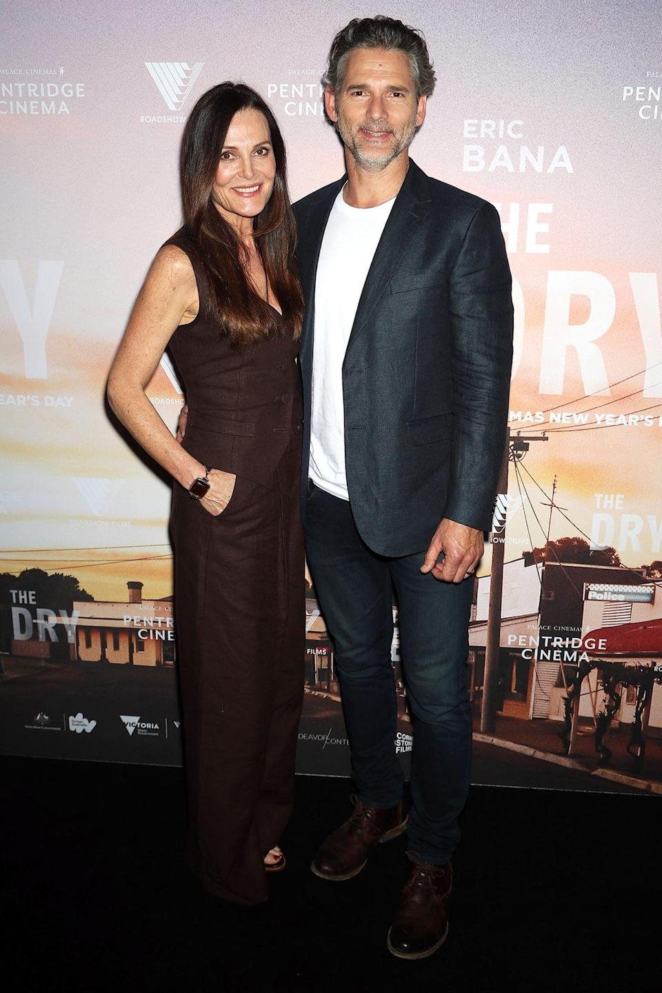 <p>Eric Bana and his wife Rebecca pose on the red carpet for the Australian premiere of <em>The Dry</em> on Friday in Melbourne, Australia. </p>