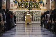 Pope Francis prays in the Gregorian Chapel in St. Peter's Basilica at the Vatican, Saturday, May 1, 2021. Pope Francis led a special prayer service Saturday evening to invoke the end of the pandemic. (Riccardo Antimiani/Pool photo via AP)