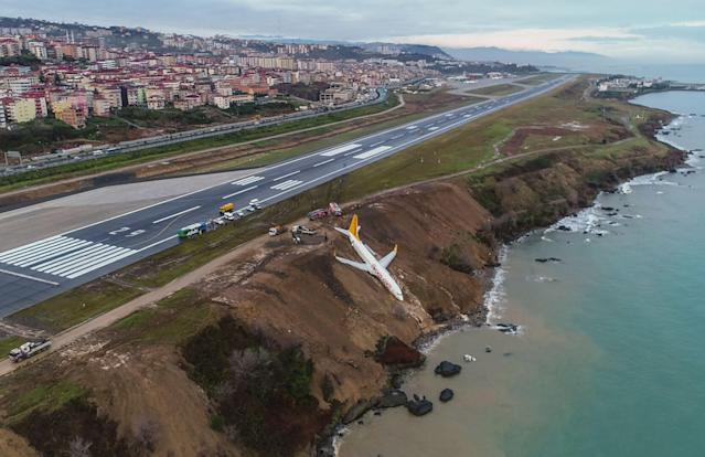 <p>A Pegasus Airlines Boeing 737 passenger plane is seen struck in mud on an embankment, a day after skidding off the airstrip, after landing at Trabzon's airport on the Black Sea coast on Jan. 14, 2018. (Photo: STRINGER/AFP/Getty Images) </p>
