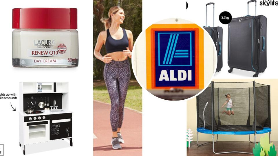 Cosmetics, activewear, suitcases, a trampoline and a toy kitchen pictured with an Aldi sign.