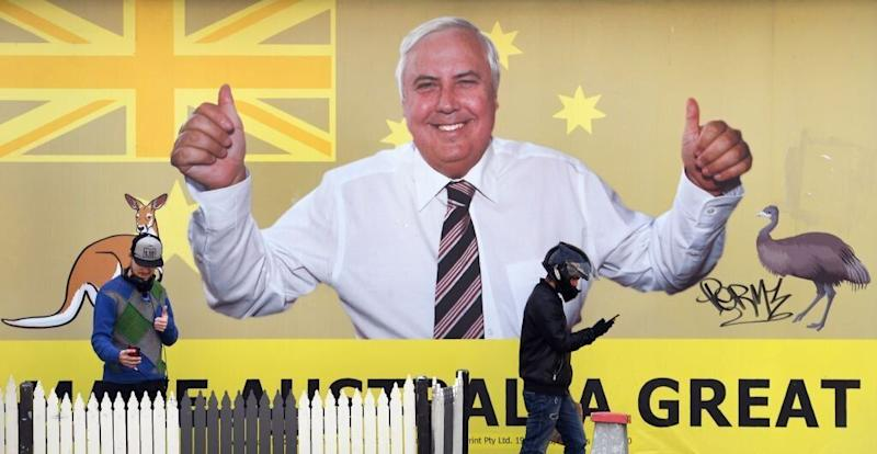 Clive Palmer's United Australia Party banner. Source: Getty
