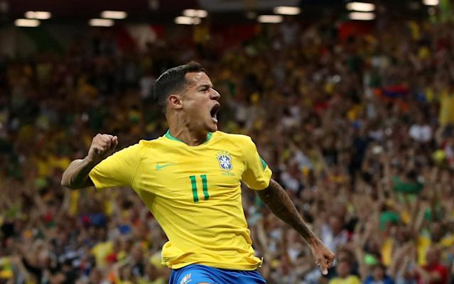 Soccer Football - World Cup - Group E - Brazil vs Switzerland - Rostov Arena, Rostov-on-Don, Russia - June 17, 2018 Brazil's Philippe Coutinho celebrates scoring their first goal REUTERS/Marko Djurica TPX IMAGES OF THE DAY