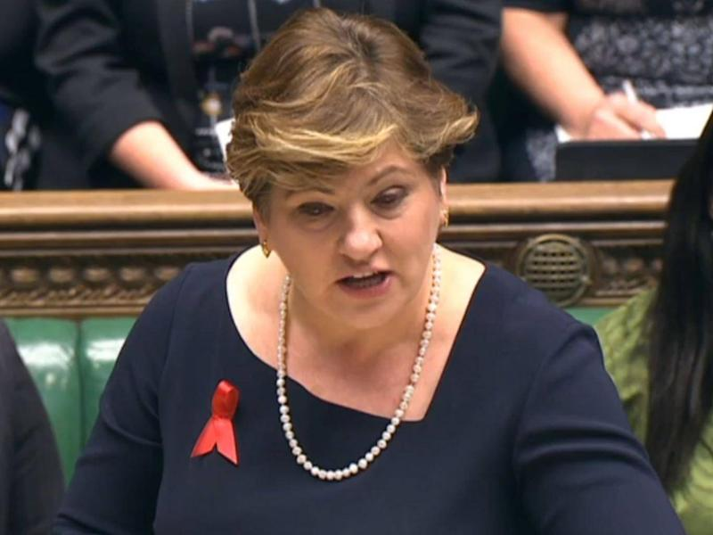 Shadow minister Emily Thornberry speaks during Prime Minister's Questions (PA)