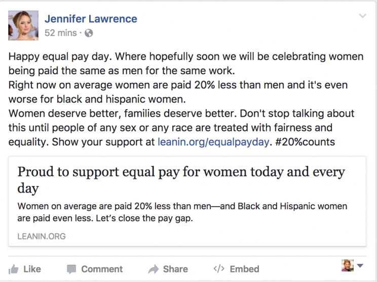 Lawrence has long been an advocate for women's equality. (Photo by Facebook/JenniferLawrence)