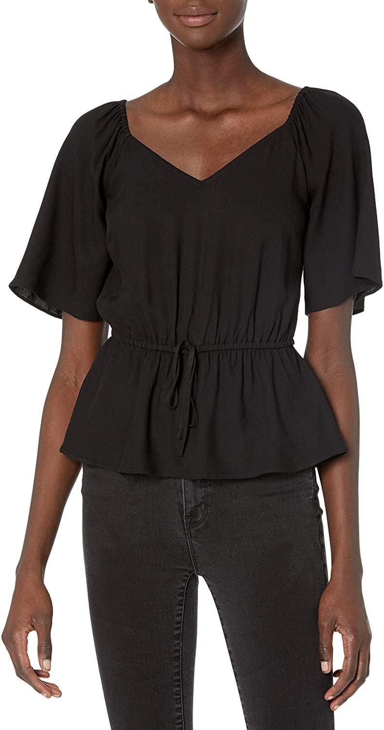 <p>This <span>Goodthreads Short Sleeve Fluid Twill Peplum Shirt</span> ($31) looks effortlessly stylish, all you have to do is slip it on. The cinched belt adds visual interest, while the neckline makes it particularly feminine.</p>
