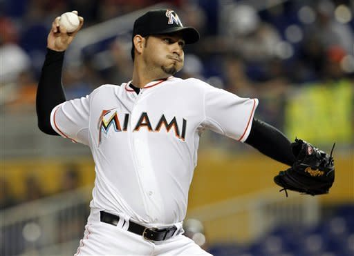 Miami Marlins starter Anibal Sanchez throws in the first inning during a baseball game against the Washington Nationals, Tuesday, May 29, 2012, in Miami. Sanchez allowed only an unearned run in seven innings to remain unbeaten in 19 starts against Washington, and the Miami Marlins beat the Nationals 3-1. (AP Photo/Lynne Sladky)
