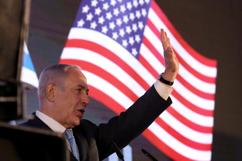 Israeli Prime Minister Benjamin Netanyahu at the ministry of foreign affairs on May 13, 2018, attending a reception to mark the opening of the US embassy in Jerusalem