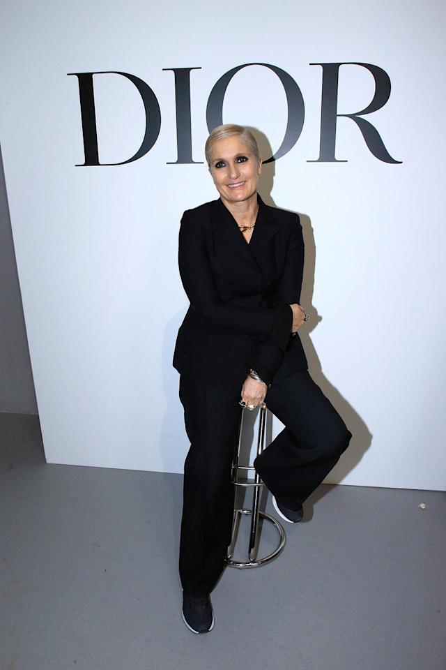 Maria Grazia Chiuri poses after the Christian Dior Haute Couture spring/summer 2018 show on Jan. 22, 2018, during Paris Fashion Week. (Photo: Bertrand Rindoff Petroff/Getty Images)